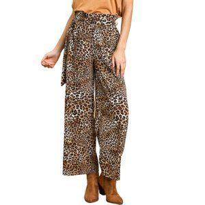 Umgee Leopard Wide Leg High Waist Tie Pants S-M-L